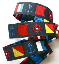NAUTICAL FLAGS on Navy Jacquard Ribbon  7/8 by fabric618 on Etsy, $3.95