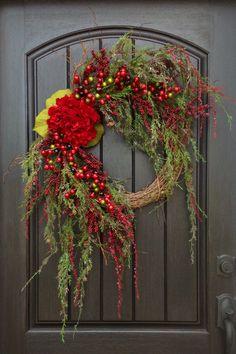 Christmas Wreath Winter Wreath Holiday Door by AnExtraordinaryGift
