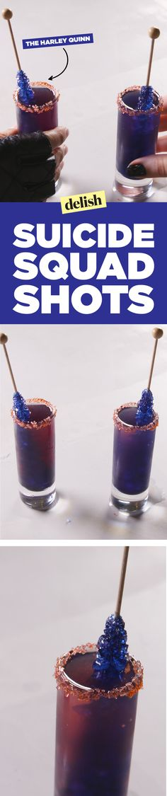 Harley Quinn inspired shots. http://www.delish.com/food/recipes/a48495/suicide-squad-inspired-shots-the-harley-quinn/
