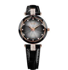 JOWISSA Quarzuhr 'Facet Strass' Swiss Ladies Watch in rosegold / grau / schwarz Elegant Watches, Faceted Glass, Stainless Steel Case, Watches For Men, Ladies Watches, Black Watches, Women's Watches, Fashion Watches, Men's Fashion
