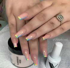 In summer I always like to wear a lot of color on my nails. Not only on my nails but my clothing too haha. So these super cool nails are perfect for upcoming spring and summer. They are colorful but… Perfect Nails, Gorgeous Nails, Amazing Nails, Amazing Makeup, Fabulous Nails, Pretty Nails, Fire Nails, Best Acrylic Nails, Summer Acrylic Nails Designs