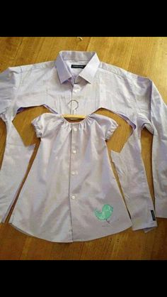 Repurposing a mans shirt.  Baby girl dress.