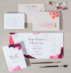 bright and vibrant modern watercolor wedding invitations. Pink Wedding invitation, trifold design, custom addressing. Wouldn't it be Lovely
