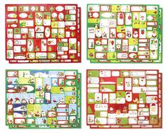 Christmas Holiday Self Stick Gift Sticker Tags Labels, Multi-Colored Red, Green, White, Assorted Designs Santa, Snowman, Reindeer, 400 Count, 1' - 3' *** Unbelievable product right here! : Christmas Gifts