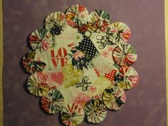 Valentine Love Collage Yo Yo Doily Candle Mat  penny by SursyShop, $8.00