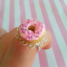 Scented Pink Frosted Doughnut Ring by DreamlandMiniatures on Etsy
