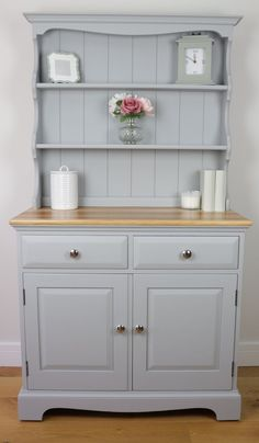 SOLD – Light Grey Vintage Welsh Dresser – Country – Farmhouse – Hand Painted – Urbane Grey - home/decor Painted Bedroom Furniture, Grey Furniture, Upcycled Furniture, Vintage Furniture, Furniture Ideas, Furniture Storage, Furniture Nyc, Cheap Furniture, Furniture Cleaning