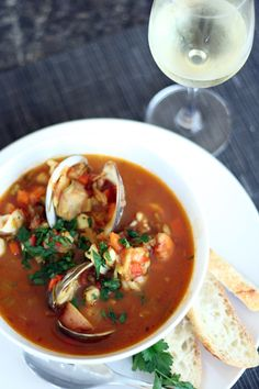 seafood stew make whole30 compliant by leaving out wine and subbing potatoes for another vegetable