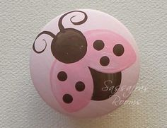 Love Bug Ladybug Painted Knobs / Nail Covers