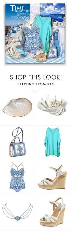 """""""Porcelain Greece"""" by kseniz13 ❤ liked on Polyvore featuring Philmore, AMOUAGE, Dolce&Gabbana, Chicnova Fashion, Gottex, Charles by Charles David, Summer, Blue, vacation and woman"""