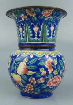 """Old or Antique Chinse Canton Enamel Two-Tiered Vase, likely from the 19th century. It is in overall good condition with crazing, some hairline cracks, some light surface scratches here and there, some enamel loss under rim plus other signs of light wear commensurate with age. Measurements: 4.35""""H, 3.25""""W. Avid4 
