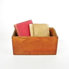 Vintage Oak Wood Storage Box Dovetailed Oak by OldRedHenVintage