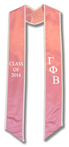 Gamma Phi Beta Graduation Stole - Light Pink with White embroidery