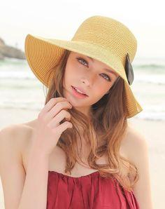 #AdoreWe #VIPme Hats & Caps - Designer Thantrue Camel Elegant Bowknot Floppy Summer Beach Sun Hat - AdoreWe.com