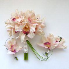 Cymbidium Orchid Bridal Bouquet  MEDIUM bride by GlamFloral, $65.00