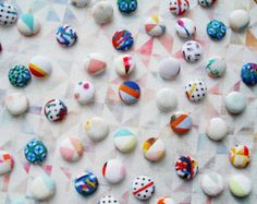 Geometric handmade fabric covered buttons by Pixel&Thread on etsy.