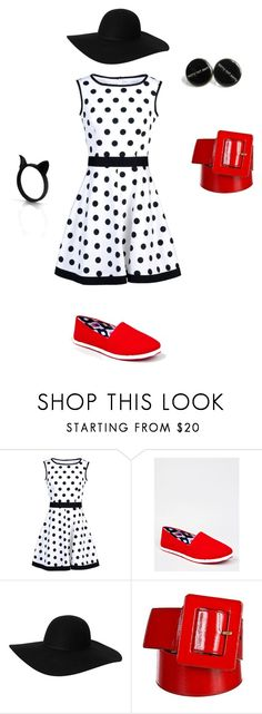 """""""Little red shoe"""" by fashionov-a ❤ liked on Polyvore featuring Blugirl, Qupid, Monki, Yves Saint Laurent and The Rogue + The Wolf"""