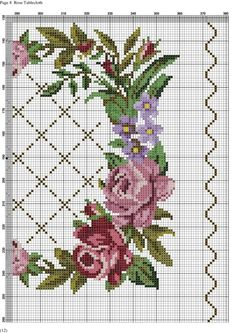 This Pin was discovered by Hay Cross Stitch Pillow, Cross Stitch Borders, Cross Stitch Rose, Cross Stitch Flowers, Cross Stitch Charts, Cross Stitch Designs, Cross Stitching, Cross Stitch Embroidery, Hand Embroidery