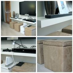 Our minimalist entertainment center solution--the perfect versatile tv stand for our small space. Entertainment System, Entertainment Center Decor, Small Space Living Room, Small Storage, Tv Storage, Creative Storage, Decorating Small Spaces, Built Ins, Diys
