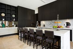 Chocolate Timber and Marble Kitchen