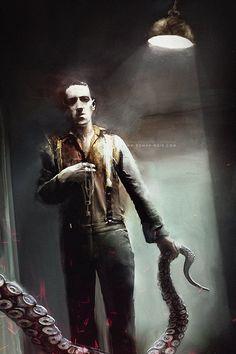 THE KEY / Portrait of H.P.Lovecraft, Bastien Lecouffe Deharme on ArtStation at http://www.artstation.com/artwork/the-key-portrait-of-h-p-lovecraft