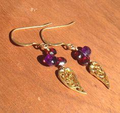 Vermeil Filigree Leaf Dangle Earrings with by nemesisjewelry, $30.00