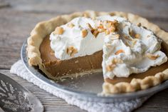 Old Fashioned Butterscotch Pie with Sweetened Whipped Cream and Chopped Cashews