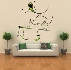 Hoopoe Decor Lord Krishna With Flute 2 White Medium Wall Sticker Decals