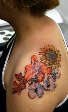Flowers on the shoulder tattoo