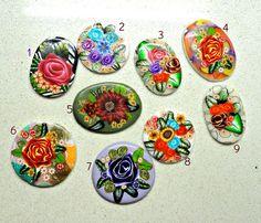 Polymer clay handmade flat cabochons buy three 3 get by artefyk,