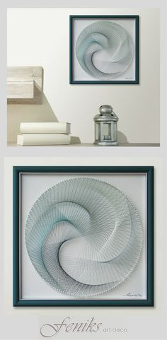 An Refreshing Classic Mandala Wall Hanging in Pale Turquoise – Zen Wall Art for Office or Home already Framed – A Beautiful Handmade Gift Idea for Someone Special in Fine 3D String Art