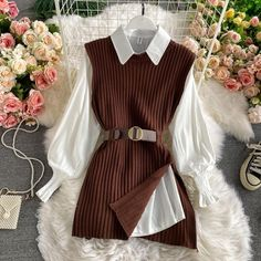 Fall Outfits, Fashion Outfits, Women's Fashion, College Fashion, College Style, Professional Outfits, Knit Vest, Casual Dresses, Clothes For Women