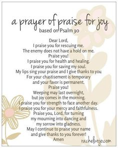 prayer of praise for joy Prayer Of Praise, Prayer Verses, Bible Prayers, Faith Prayer, Prayer Quotes, Power Of Prayer, Praise The Lords, Praise And Worship, My Prayer