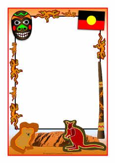 Aboriginal-themed A4 page borders (SB4828) - SparkleBox