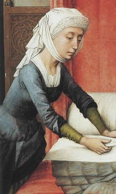 a woman wearing blue overkirtle over a green kirtle and a white shift . (source: Rogier van der Weyden.   St. John Altarpiece.   The Birth of St. John the Baptist.)