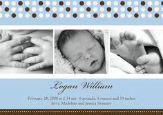 Dotted Delight: Blue - Boy Photo Birth Announcements in Light Blue   Hello Little One