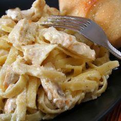 CrockPot Cream Cheese Chicken Spaghetti.
