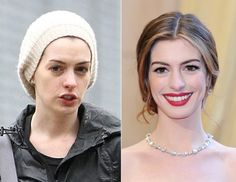 Female Celebs Before and After Without Makeup: Anne Hathaway Anne Hathaway, Makeup Photoshop, No Photoshop, Photoshop Tutorial, Celebrity Gallery, Celebrity Look, Horse Smiling, Celebs Without Makeup, Celebrities Before And After