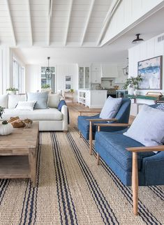 lake house living room blue green and white decor. striped jute rug lake house living room blue green and white decor. Coastal Living Rooms, Home Living Room, Living Room Designs, Lake House Family Room, Blue And White Living Room, Blue Couch Living Room, Hamptons Living Room, Beach Living Room, Blue Couches