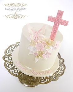 Butterfly and Floral Baptism Cake