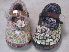 Mary Janes-Blue-Eyed Glass #Mosaics #mosaicshoes #mosaicart