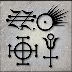 Alchemy Symbols | Symbols for ginger, gold and antimony.