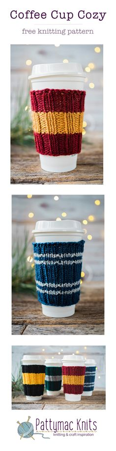 Free Knitting Pattern for Hogwarts inspired Coffee Cup Cozies, Free printable pattern in the blog story. Easy and fast to make! Perfect handmade gifts. Pattymac Knits
