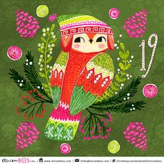 Artwork by Miriam Bos. This artwork is part of her Christmas Countdown of 2015. A handsome owl with a winter hat ⎯ ⎯ ⎯ ⎯ ⎯ ⎯ ⎯  #illustration, #christmasillustration #christmascountdown #miriambos #Christmascountdownwithmiriambos