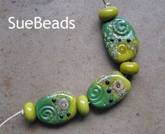 Lampwork Beads  SueBeads  Focal Bead Set  Green Focal by suebeads