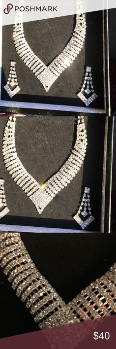 Necklace and earrings set. Worn once years ago. Crystal necklace and earrings set. Worn once for my wedding a few years ago and has been box kept. Beautiful!! Jewelry