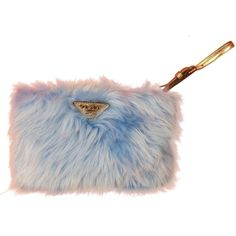 Pre-owned Prada Blue Sky Eco Pellicia Fur Logo Clutch Gift Box... ($410) ❤ liked on Polyvore featuring bags, handbags, clutches, none, preowned handbags, prada pochette, zipper purse, fur clutches and wristlet clutches