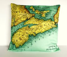 vintage map decorative cushion NOVA SCOTIA map cushion, organic cotton, pillow, 16 inch cushion