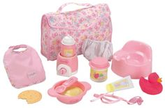 "Corolle My First Baby Doll Accessory Set for 12 inch Baby Doll - Corolle - Toys ""R"" Us Baby Doll Diaper Bag, Baby Doll Set, Baby Doll Nursery, Baby Dolls For Kids, Toys For Girls, Kids Toys, Baby Alive Doll Clothes, Baby Alive Dolls, Doll Toys"