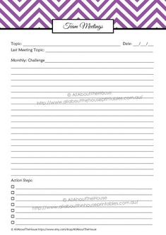 Team Meetings - direct sales planner organizer printable editable letter size a4 half size a5 filofax personalised planner http://www.allaboutthehouseprintables.com.au/instant-download-bundles/purple-direct-sales-planner-editable-instant-download/